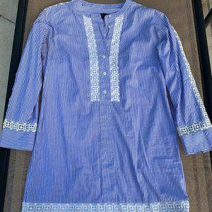 J Crew Blue & White Beach Coverup Tunic Dress Sz 4